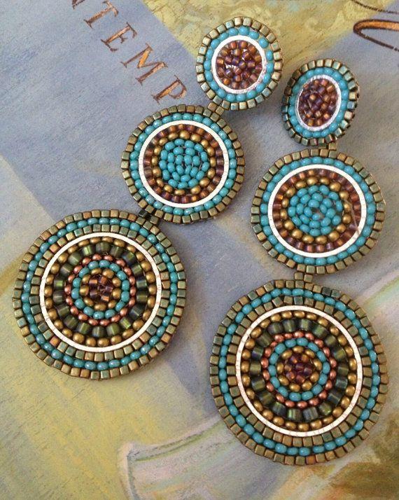 Beadwork Triple Disc Earrings - Big Bold Turquoise Seed Bead Post Stud Earrings…