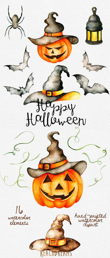 Halloween watercolor clipart, Autumn, Pumpkin, fall, holiday, party, hats, lamp, spider, bat, hand painted, scrapbook, DIY, greeting card