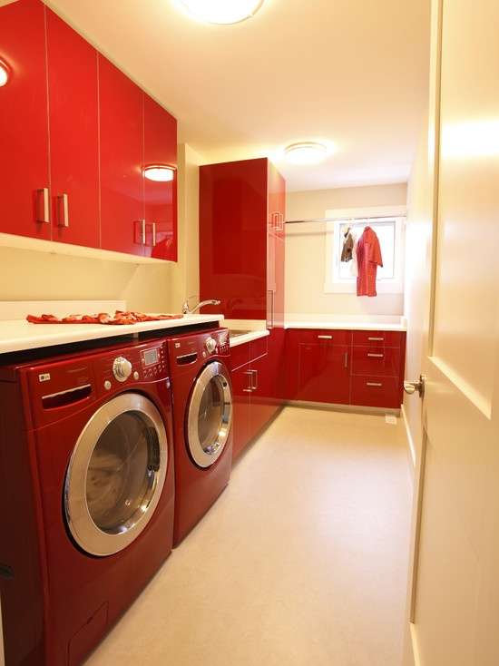 Cherry Red Laundry Room