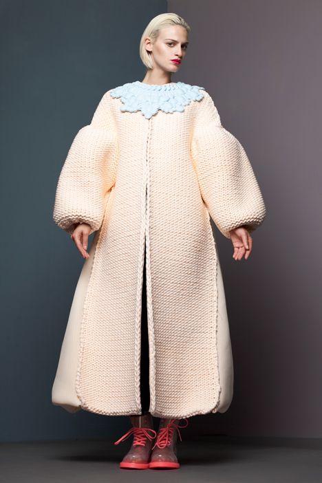 RCA Fashion Show 2013 Xiao Li - totally fantastic plastic coated shaped knitwear. LOVE.