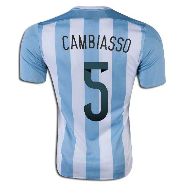 Esteban Cambiasso 5 2015 Copa America Argentina Home Soccer Jersey
