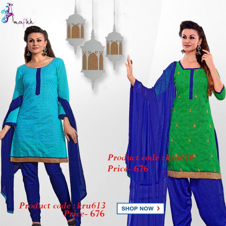 Buy Blue Chiffon Crepe Chanderi Salwar Suit Dress Material in ₹676