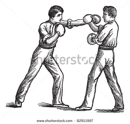 Two Boxers, boxing, vintage engraving. Old engraved illustration of two boxers…