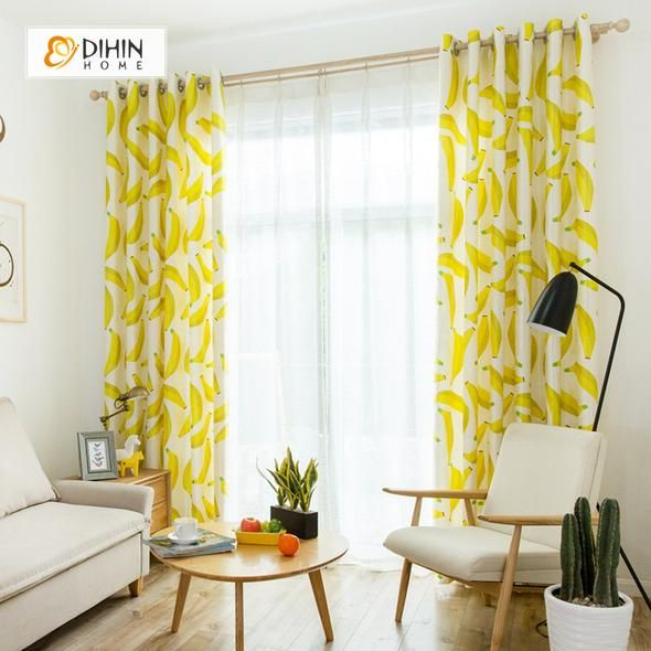Dihin Home 3d Printed Banana Blackout Curtains Window Curtains Grommet Curtain For Living Room 39x102 Inch 2 Panels Included Curtains Living Room Grommet Curtains Drapes Curtains #printed #living #room #curtains