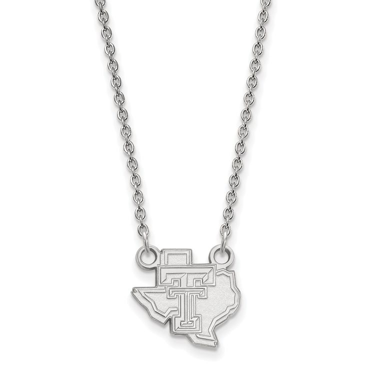 Sterling Silver LogoArt Texas Tech University Small Pendant w/Necklace