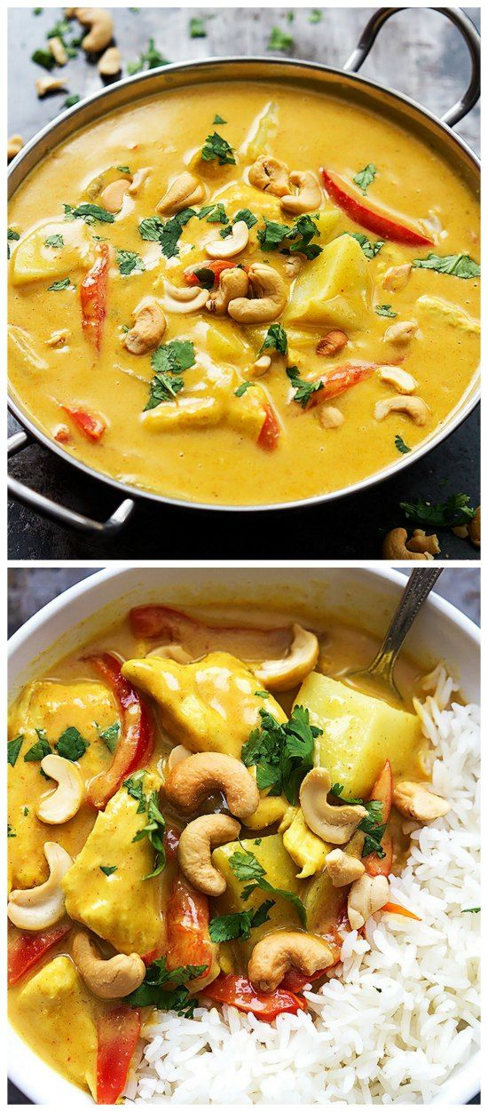 Slow Cooker Coconut Curry Cashew Chicken from Creme de la Crumb is an easy and delicious meal that's dairy-free and gluten-free, and this is quick to get into the slow cooker! [Featured on SlowCookerFromScratch.com]