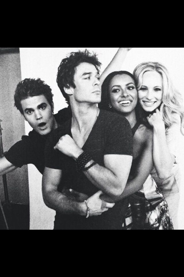 @miaxo3//vampirediaries//Damon Salvatore (Ian Somerhalder), Stefan Salvatore (Paul Wesley), Caroline Forbes (Candice King) and Bonnie Bennet (Kat Graham)