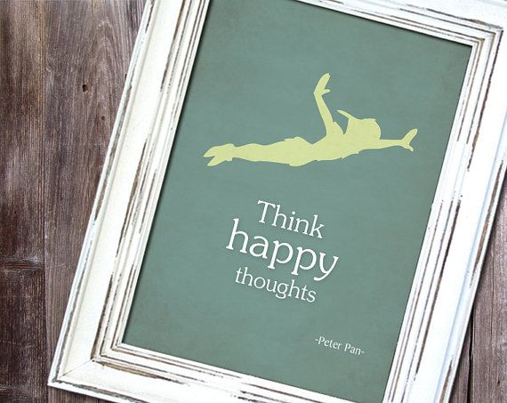 """Disney Peter Pan inspired Baby Children Boy or Girl Birth Gift idea Nursery room wall art decor """"Think happy thoughts"""" - Print 8x10 -"""