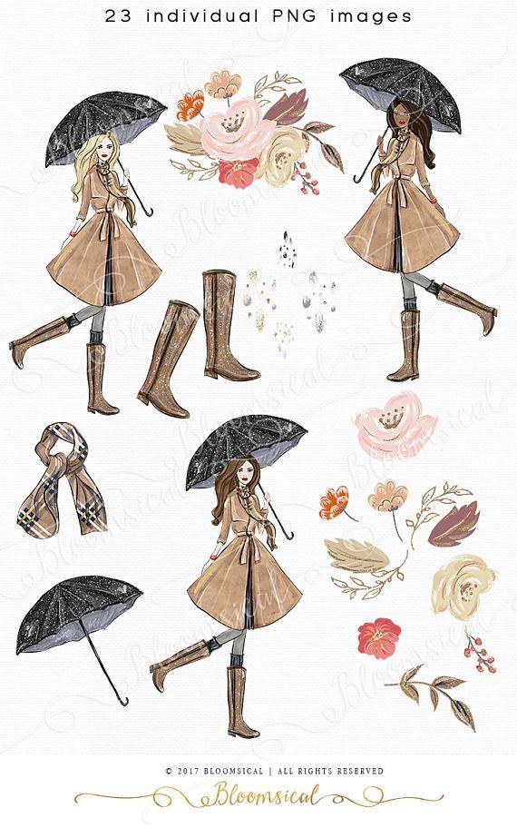 Fall Clip Art Hand Drawn Autumn Flowers Rain Glitter Boots