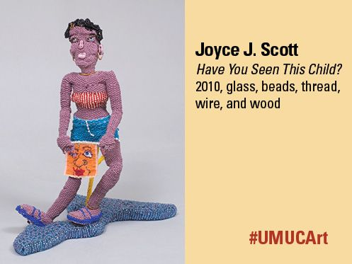 Baltimore native Joyce J. Scott is this week's #UMUCArt featured artist. This particular work is perhaps more poignant than the usual narrative found in traditional art forms such as painting or marble sculptures. Many see this work as a reflection of society's unequal treatment of individuals and groups that have been underserved historically. What does this piece say to you?