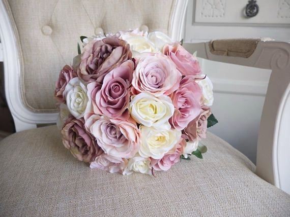 Ivory Mauve Pale Pink And Dusky Pink Silk Wedding Bouquet Updated Design Silk Wedding Bouquets Wedding Bouquets Pink Silk Flowers Wedding