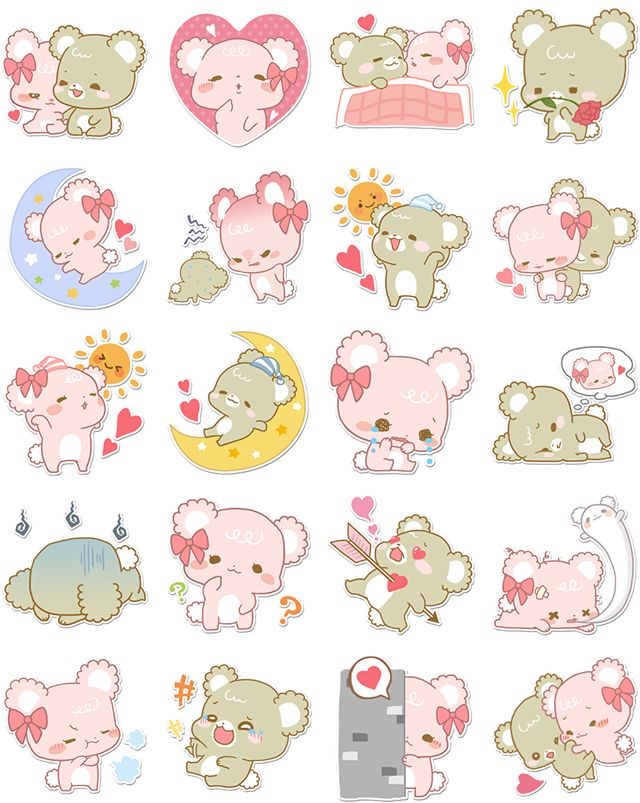 """Sugar Cubs Sticker by Quan Inc.Sugar Cubs Sticker is free to use. These sweet bears love each other """"beary"""" much…sometimes."""