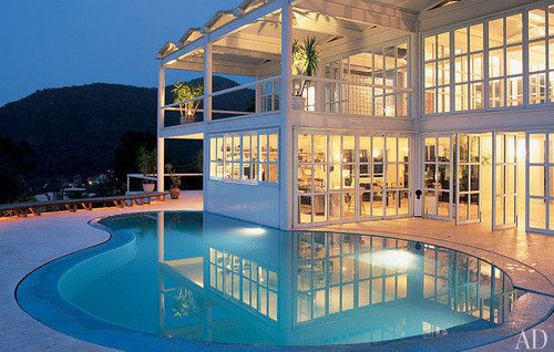 Dream house pool cute white piscine blanc grosse for Big modern houses with pool