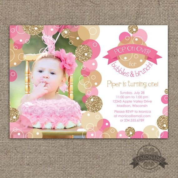 Glitter Bubbles & Brunch Invitation - Pink Gold Bubble Invite - Pop on Over - First Birthday or ANY Age - Any Text - ANY colors - Printable