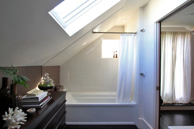 would love to have a bathroom with a skylight design Corner Built in Bookshelves Small Space Solutions