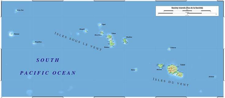 "The Society Islands /  Îles de la Société (The group of Islands commonly considered to be the ""Tahitian Islands"")  These Include the Windward Islands / Îles du Vent : (Mehetia, Tahiti, Tetiaroa, Moorea, Maiao) & the Leeward Islands / Îles Sous-le-Vent : (Huahine, Raiatea, Tahaa, Bora Bora, Tupai, Maupiti, Mopelia, Motu One, Manuae)"