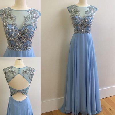 Sequins prom dress, homecoming dress, Stunning blue chiffon sequins long evening dress for teens