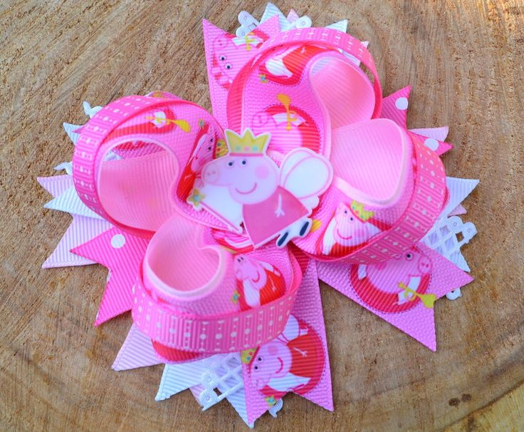 The Peppa Pig bow  peppa fairy fancy bow for girls  bow birthday  gift your daughter the bow  cartoon. by Marvaridexclusive on Etsy