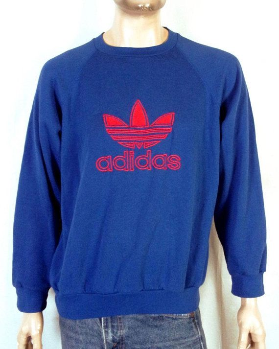 vtg 80s retro Retro Blue Red Adidas Sewn Trefoil Logo Sweatshirt raglan sz  XL 5c9b8fbdf