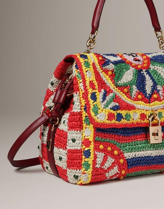 Sicilian cart crochet raffia dolce bag Women - Bags Women on Dolce Online Store United Kingdom - Dolce & Gabbana Group