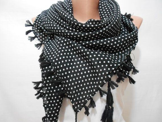Black Polka Dot Scarf Shawl Polka Dots Scarf Shawl by ScarfClub, $18.50