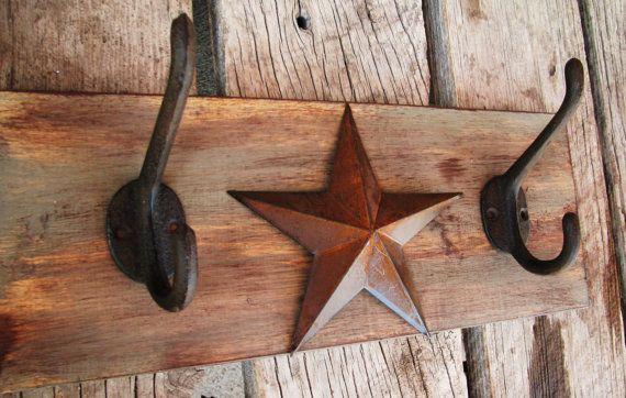 Primitive Rustic Star Coat Hook-Key Hook Distressed Sage Green Brown Wood Design $44