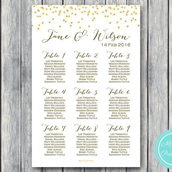 Gold Sprinkle Printable Wedding Seating Chart Wedding Seating Poster WD47 WC33