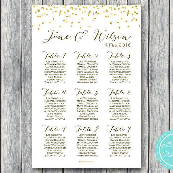Gold Sprinkle Printable Wedding Seating Chart Wedding Seating Poster WD47 WC33