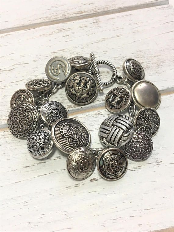 Vintage Button Bracelet - Silver Button Bracelet - Antique Button Charm Bracelet - Upcycled Bracelet - Re-Purposed - Handmade - Gift for Her