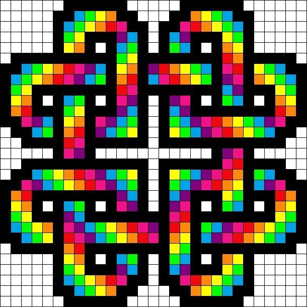 Rainbow Hearts Perler Bead Pattern Minecraft Pixel Art