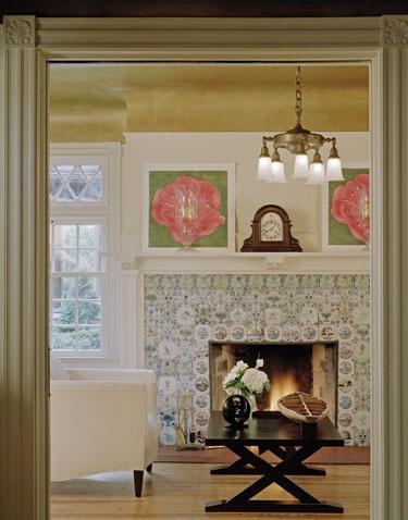 Delft tile fireplace