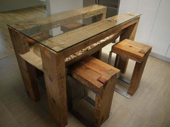 Reclaimed Wood Dining Table. Glass Top. Reclaimed by TicinoDesign, $3500.00