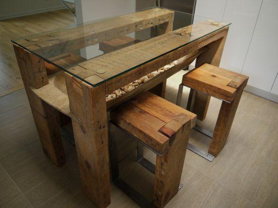 Mesa de comedor de madera reciclada. Tapa de por TicinoDesign