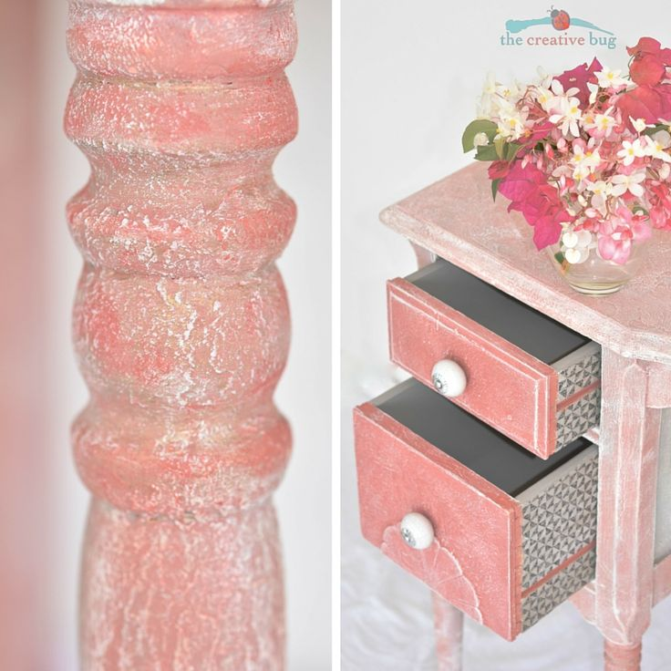 Dressing Table painted in Annie Sloan Chalk Paint.  Scandinavian Pink.  Custom Coral.  Decoupaged drawers with napkins.  French Linen, Barcelona Orange, Scandinavian Pink, Clear Wax, Dry Brushing, painted furniture, furniture transformations.  Bermuda.  The Creative Bug.  Heavily textured.