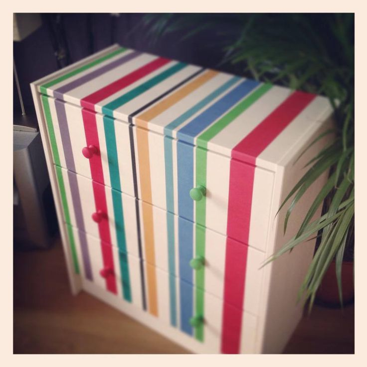 My son's striped multicoloured chest of drawers - he picked the colours! by A Lick of Magic Annie Sloan CP