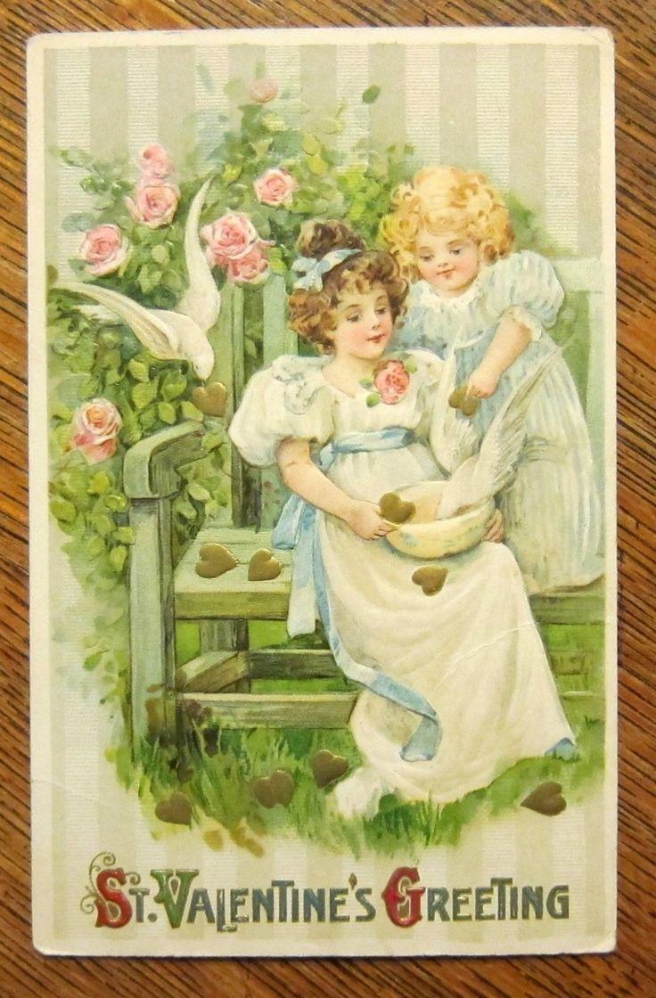 Pretty Girls Feeding Doves Winsch Schmucker Antique Vintage Valentine Postcard | eBay