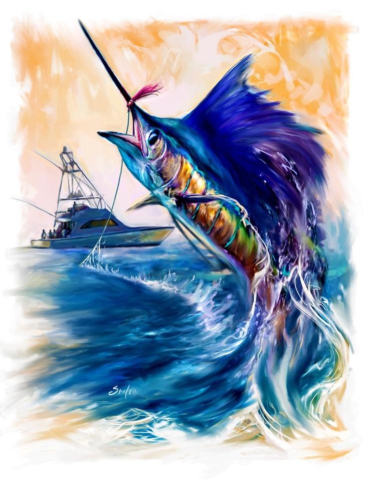 Sailfish and Sportfishing Yacht Sailfish fishing art. A contemporary Game fish painting by renowned sporting marine and Fish artist Savlen.