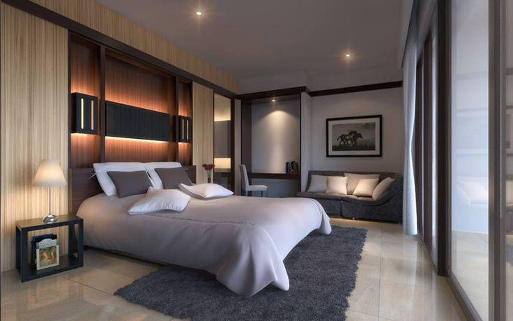 Modern hálószoba rejtett hangulatfénnyel