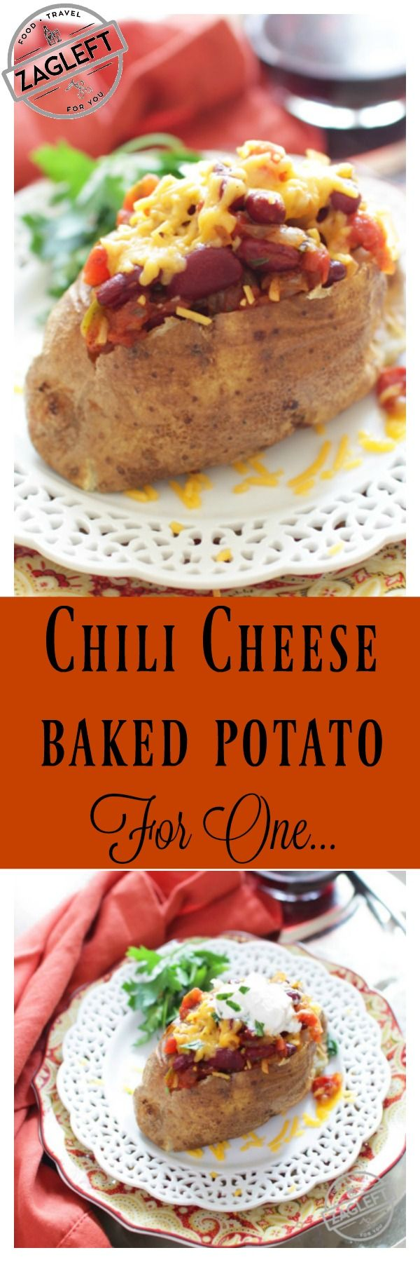 Chili Cheese Baked Potato loaded with sautéed onions and garlic, red beans, tomatoes and spices then topped with shredded cheddar cheese and sour cream.  This easy recipe is a hearty and delicious Recipe For One!  | zagleft.com