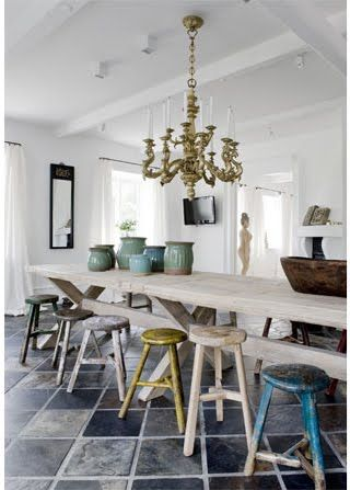 Cool space:  Boards, Dining Rooms, Dining Spaces, Colors Kitchens, Bar Stools, Long Tables, Dining Tables, White Kitchens, Kitchens Stools