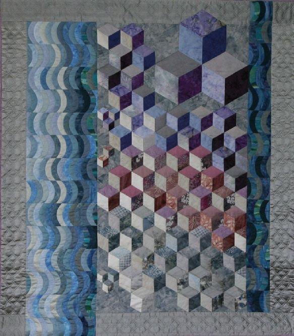 Tumbling blocks art quilt: Zout en Water (Salt and Water) 2001 by Rita Dijkstra-Hesselink