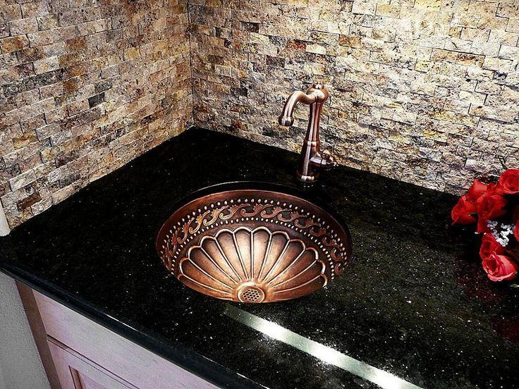 Kitchen, : Breathtaking Kitchen Decoration Design With Black Granite  Countertop Along With Round Brass Kitchen Sink And Stone Kitchen Wall D.