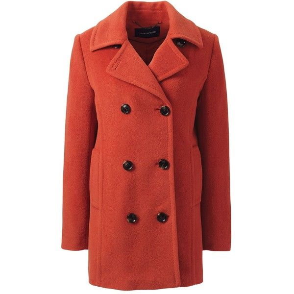 Lands' End Women's Plus Size Relaxed Wool Peacoat ($160) ❤ liked on Polyvore featuring outerwear, coats, jackets, orange, orange coat, pea coat, women's plus size coats, orange wool coat and red peacoat