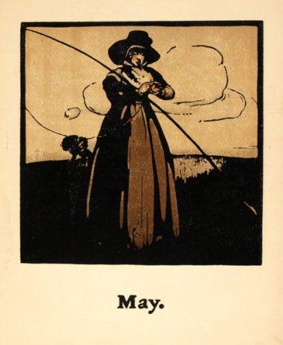 NICHOLSON, William. May [fishing]. #fishing #sports #vintage #calendar