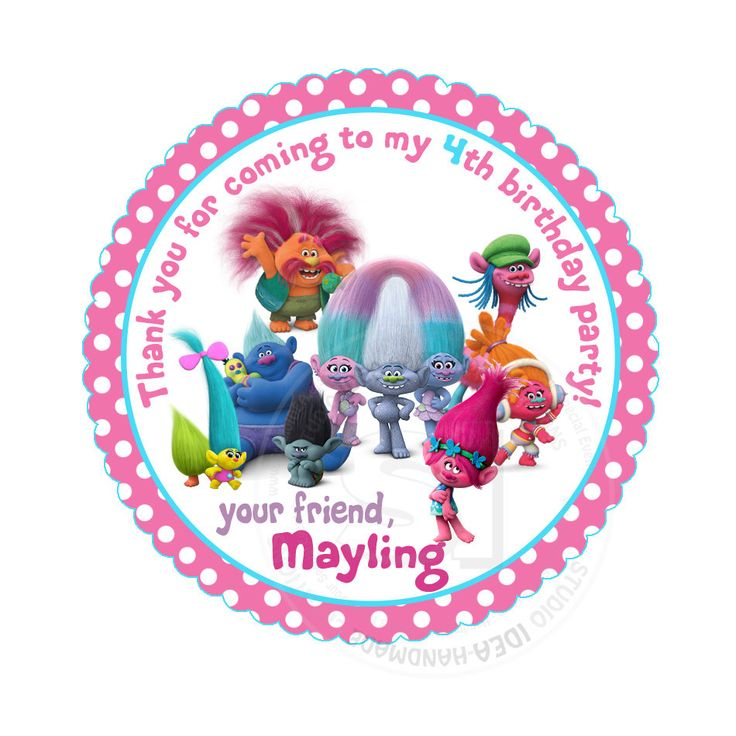 """Custom Stickers- Trolls Birthday 2.5"""" STICKERS-Pink Polka dots Trolls Thank you 2.5"""" Stickers- Personalized Trolls Stickers 2.5 inches by StudioIdea on Etsy"""