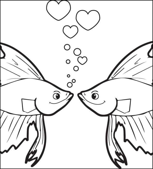 Kissing Fish Valentine's Day Coloring Page   coloring ...