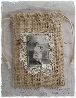 DIY gift bag idea ~ treasured photo image transferred to fabric and stitched onto a lace embellished burlap gift bag.: