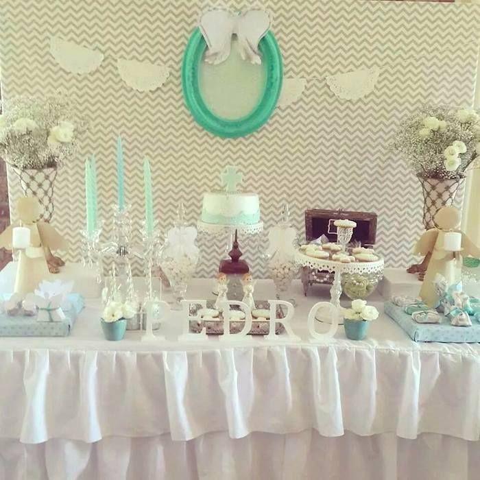 Modern Meets Vintage Baptism Dessert Table with Such Cute Ideas via Kara's Party Ideas | KarasPartyIdeas.com #babybaptism #baptism