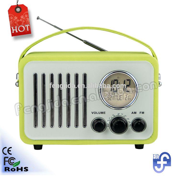 FM/AM Portable Mini Speaker radio Retro Portable Clock Radio with LED screen