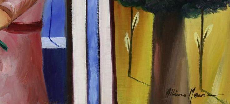 """Lote 6166 - ALBINO MOURA (n.1940) - Original - Pintura a óleo sobre tela, assinada, verso assinado e com indicação do título """"A Menina das Flores"""", com 50x60 cm (grade alta, sem necessidade de moldura). Obra deste autor foi vendida por € 4.500 numa leiloeira em Lisboa. Nota: Albino Moura nasceu em Lisboa, pintor autodidata, recebeu orientação de Fred Kradolfer com quem"""